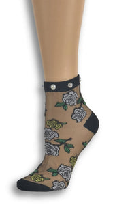 Sharp White Roses Custom Sheer Socks with beads - Global Trendz Fashion®