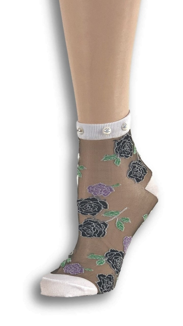 Sharp Black Roses Custom Sheer Socks with beads - Global Trendz Fashion®