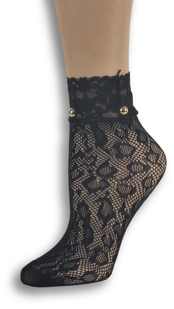 Cheetah Black Custom Mesh Socks with beads - Global Trendz Fashion®