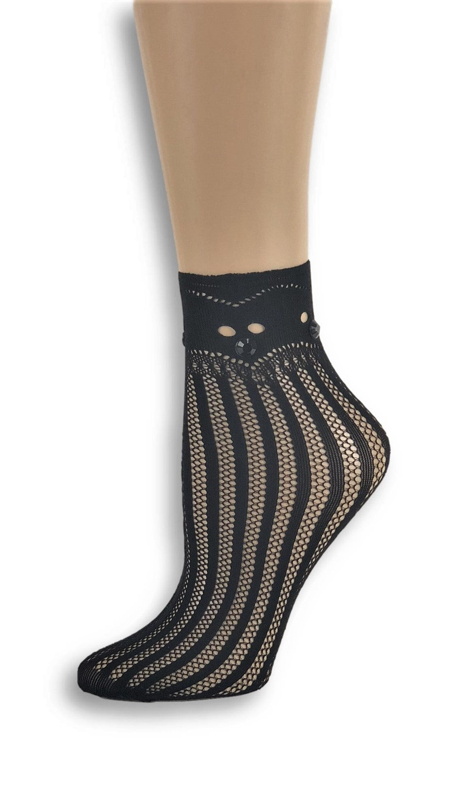 Cinderella Black Custom Mesh Socks with beads - Global Trendz Fashion®