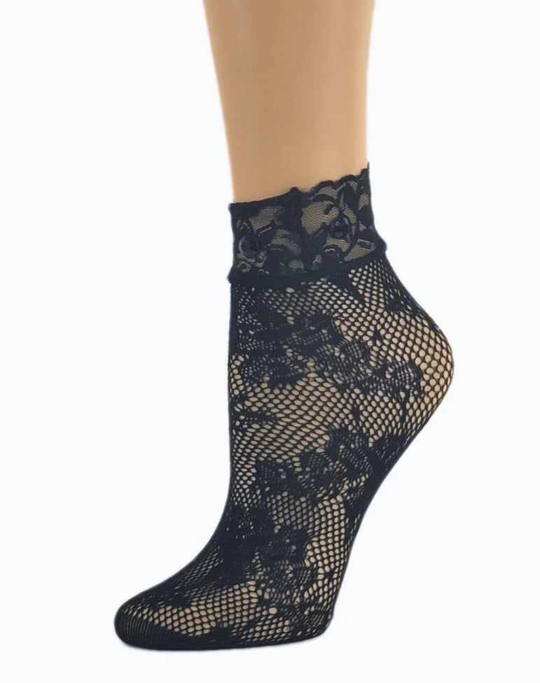 Floral Black Mesh Socks - Global Trendz Fashion®