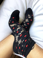 Elegant Black Flowers Sheer Socks - Global Trendz Fashion®