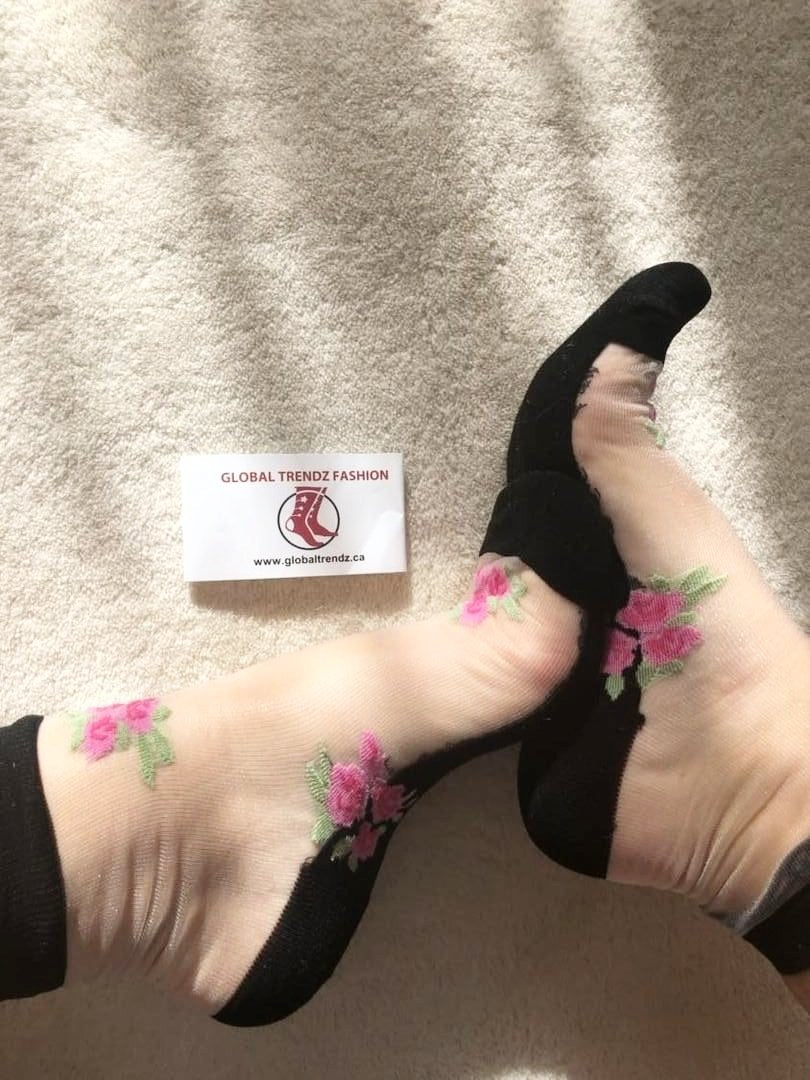 Four Pink Rose Sheer Socks - Global Trendz Fashion®
