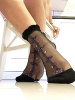 Spiral Black Sheer Socks - Global Trendz Fashion®