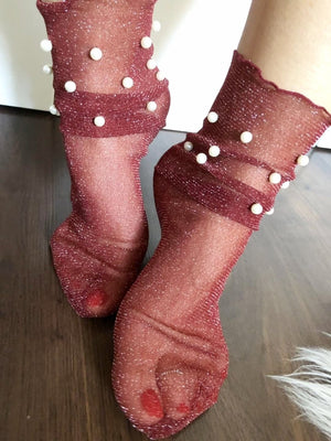 Pearly Maroon Tulle Socks - Global Trendz Fashion®