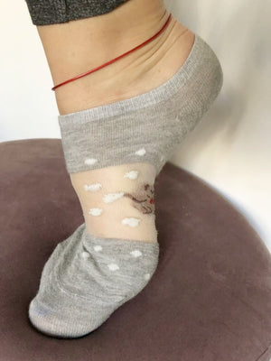 Adorable Grey Bear Ankle Sheer Socks - Global Trendz Fashion®