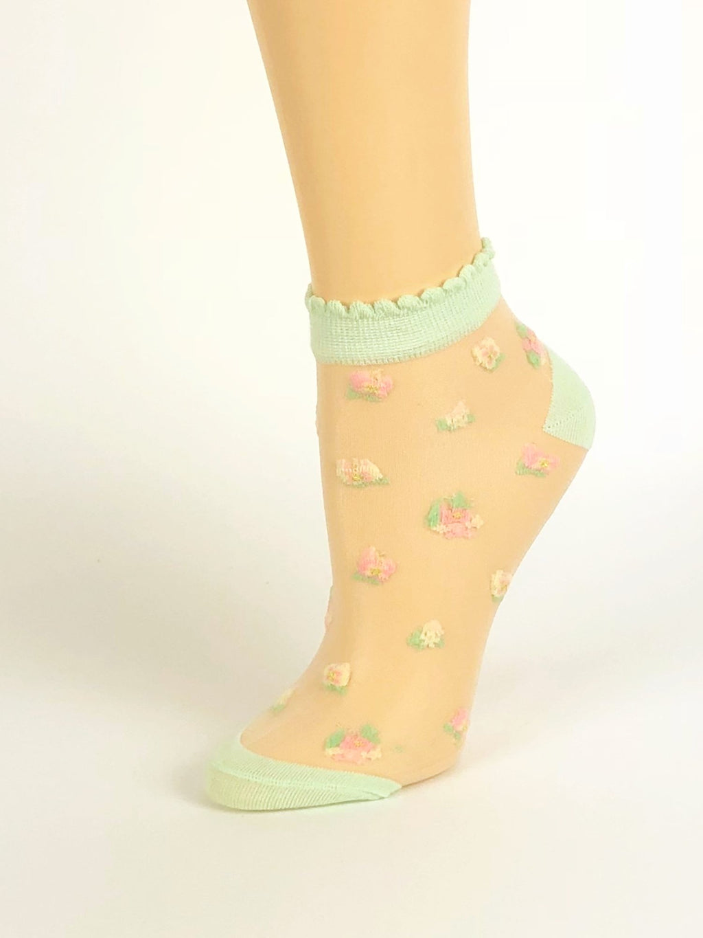Cream Green Ankle Sheer Socks - Global Trendz Fashion®