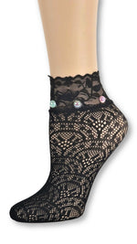 Tornado Black Custom Mesh Socks with beads - Global Trendz Fashion®