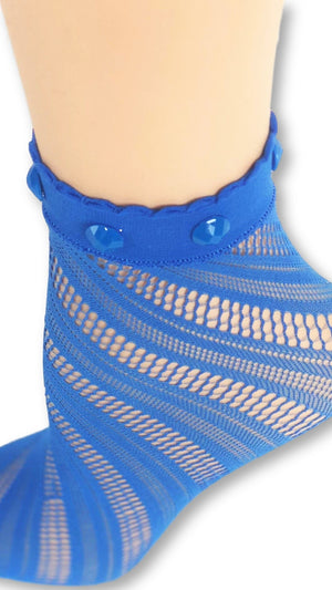 Charming Blue Custom Mesh Socks with beads - Global Trendz Fashion®