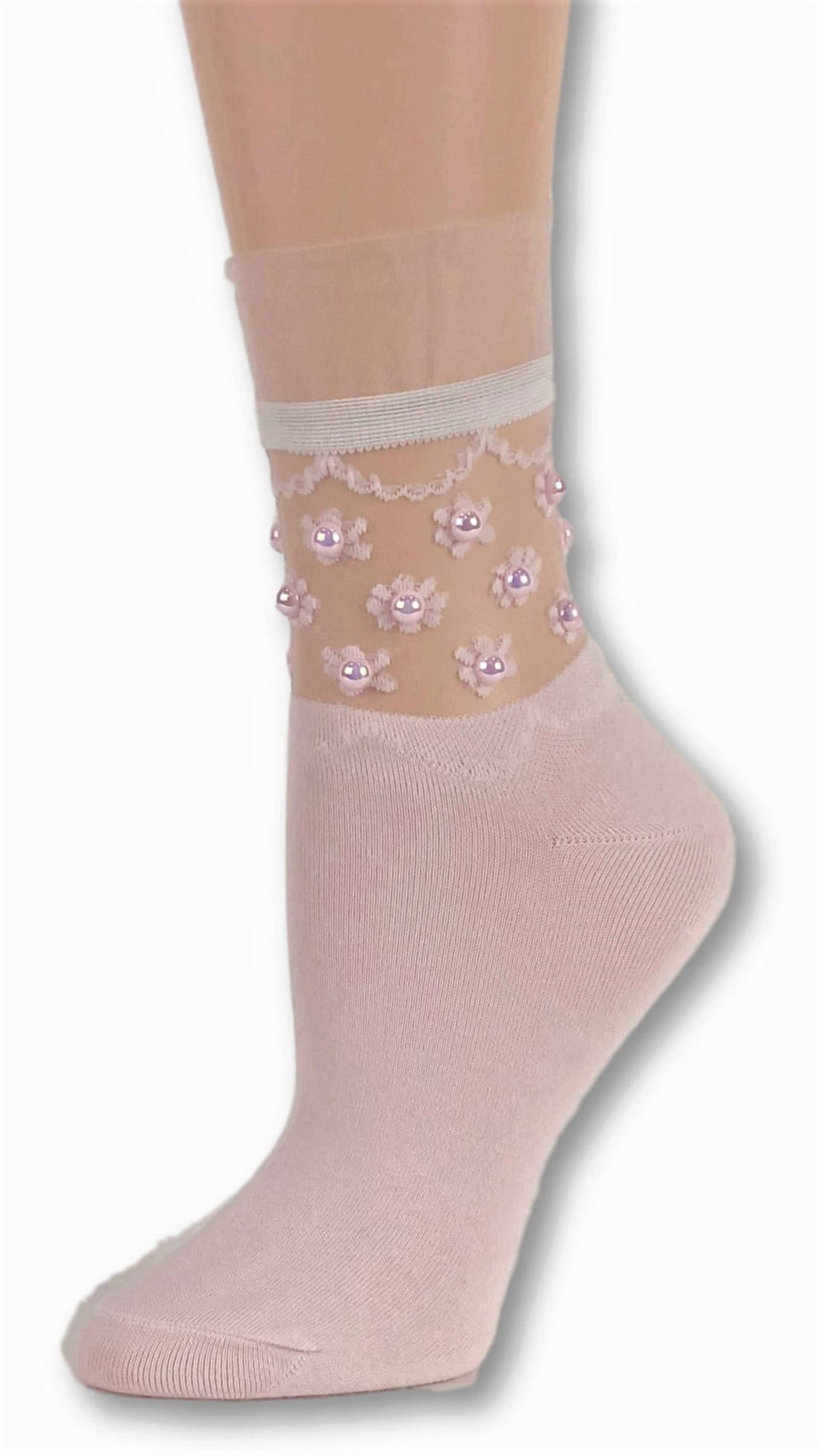 Tiny Pink Flowers custom Sheer Socks with beads