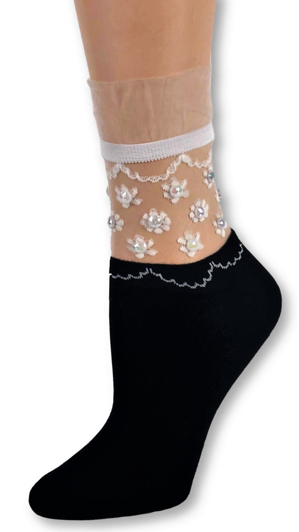 Tiny Flowers Black Custom Sheer Socks with beads