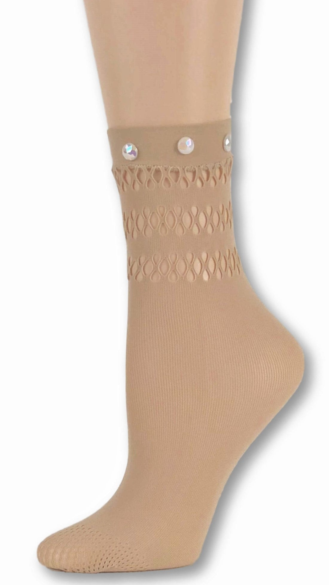 Trendy Beige Custom Mesh Socks with beads - Global Trendz Fashion®