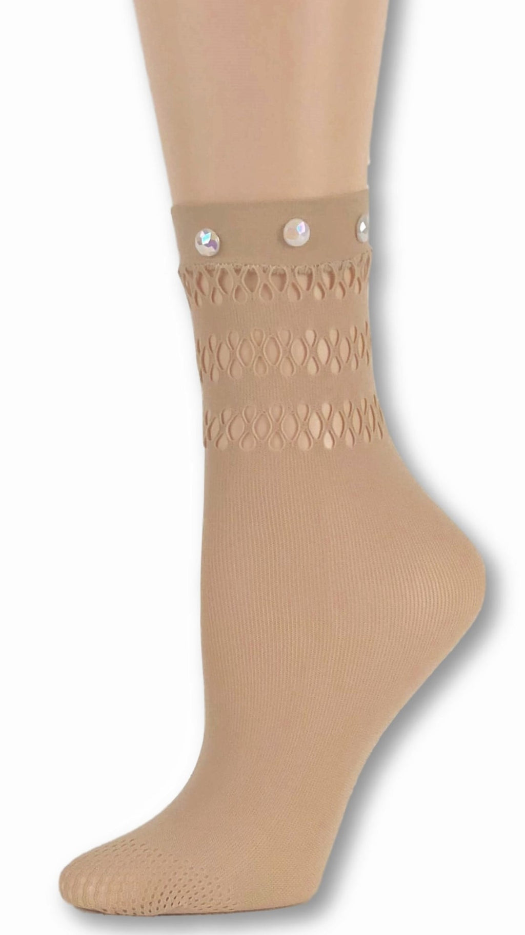 Trendy Beige Custom Mesh Socks with beads