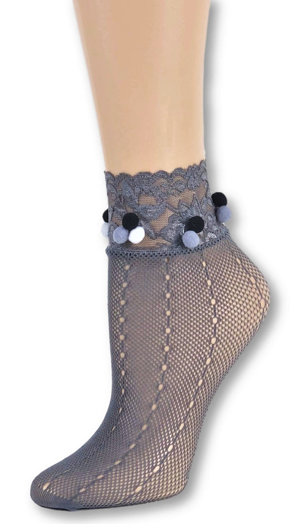 Dashing Grey Custom Mesh Socks with pompom - Global Trendz Fashion®