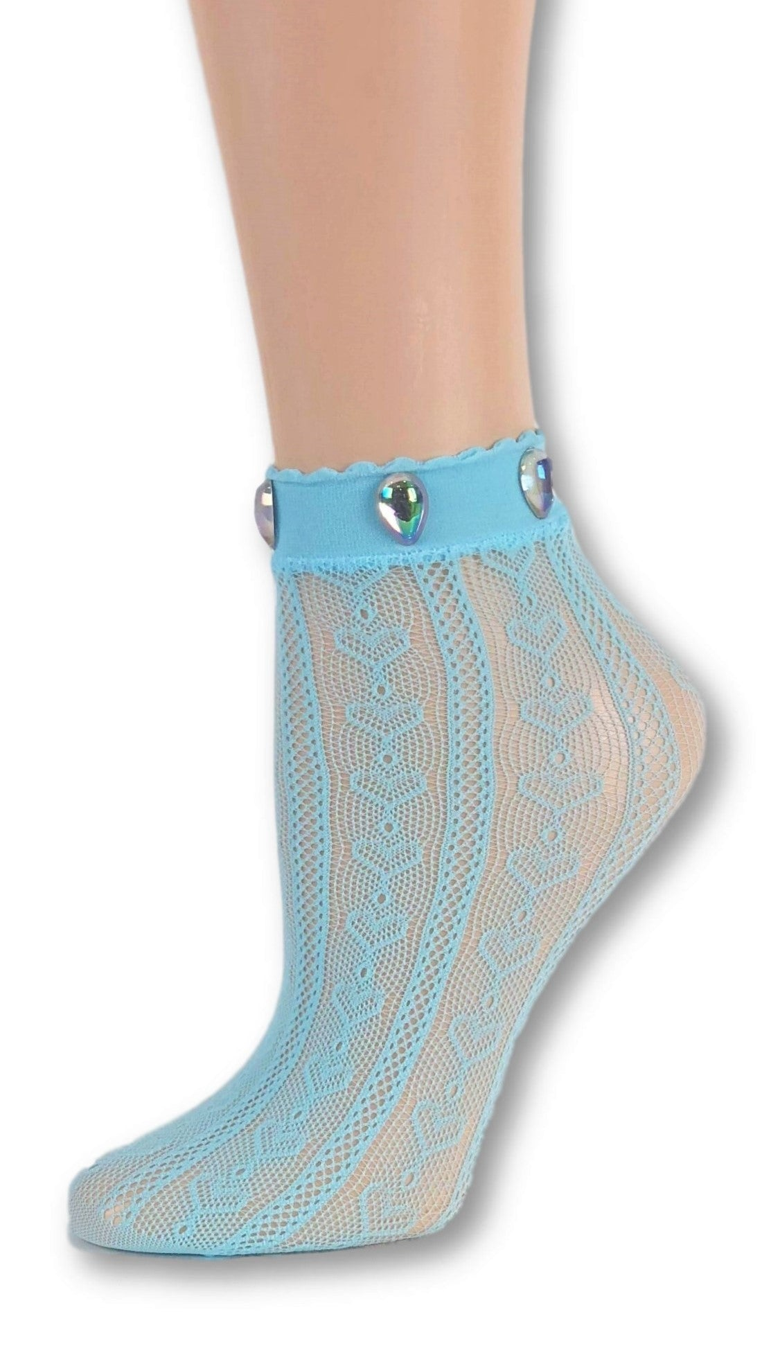 Heart Cool Blue Custom Mesh Socks with beads - Global Trendz Fashion®