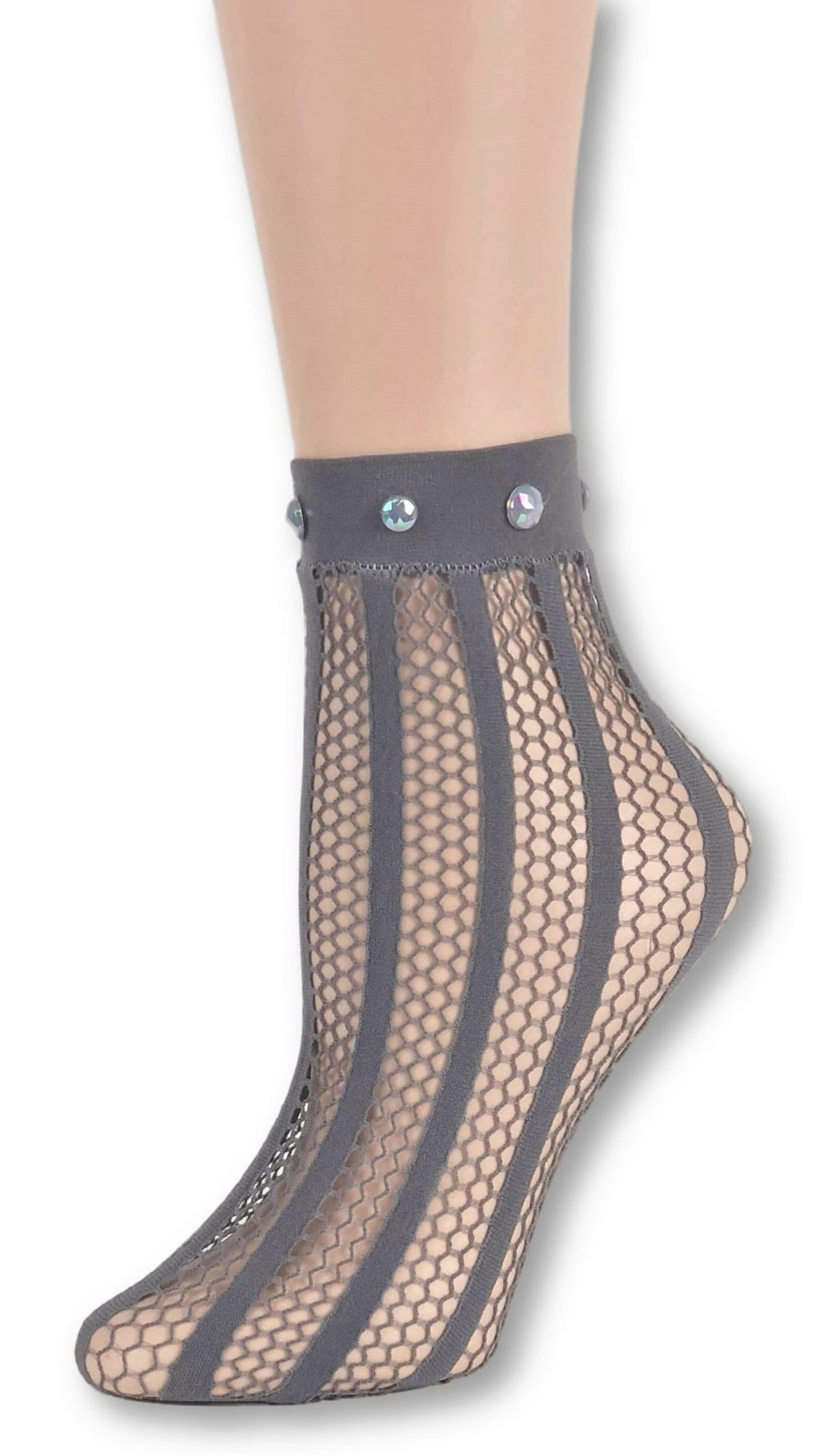 Striped Grey Custom Mesh Socks with beads