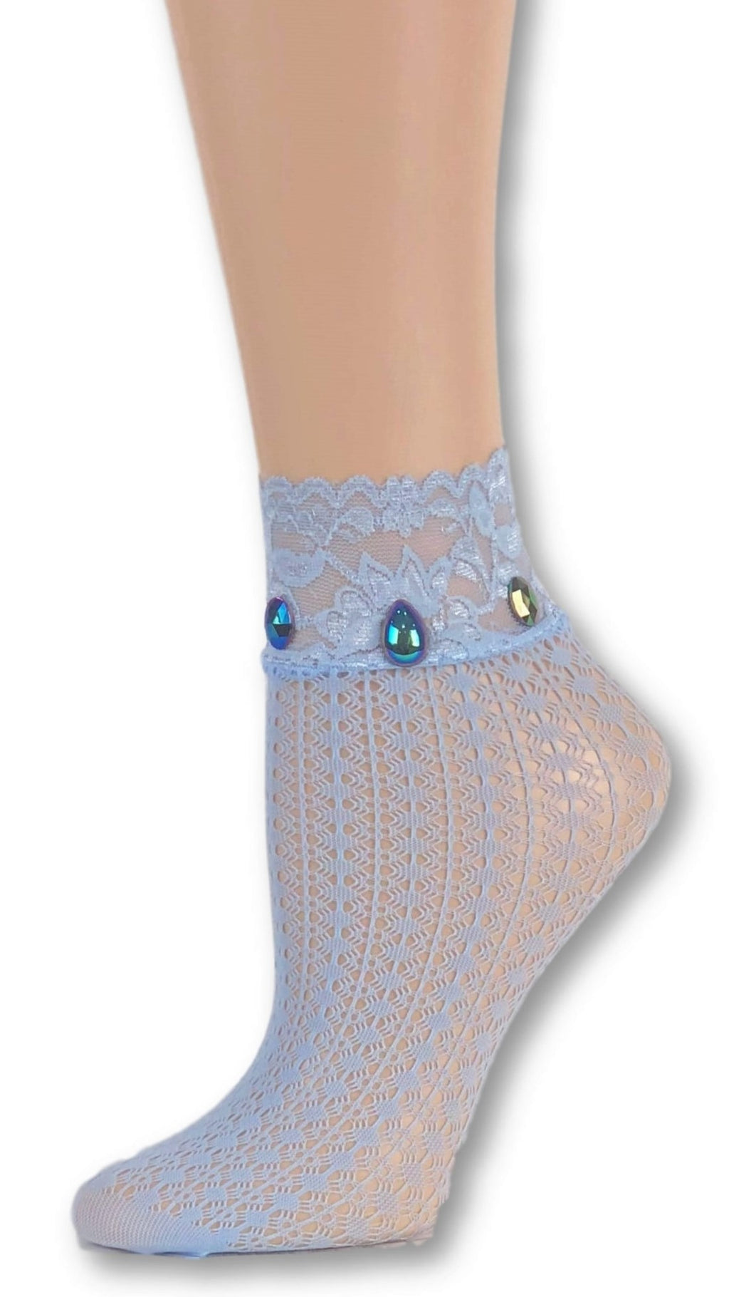 Elegant Sea Blue Custom Mesh Socks with beads - Global Trendz Fashion®