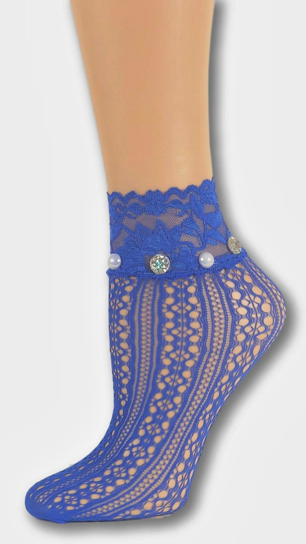 Posh Blue Custom Mesh Socks with beads - Global Trendz Fashion®