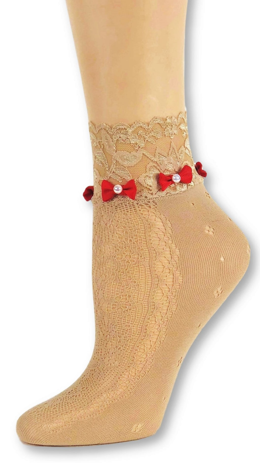 Trendy Beige Custom Mesh Socks with the bow
