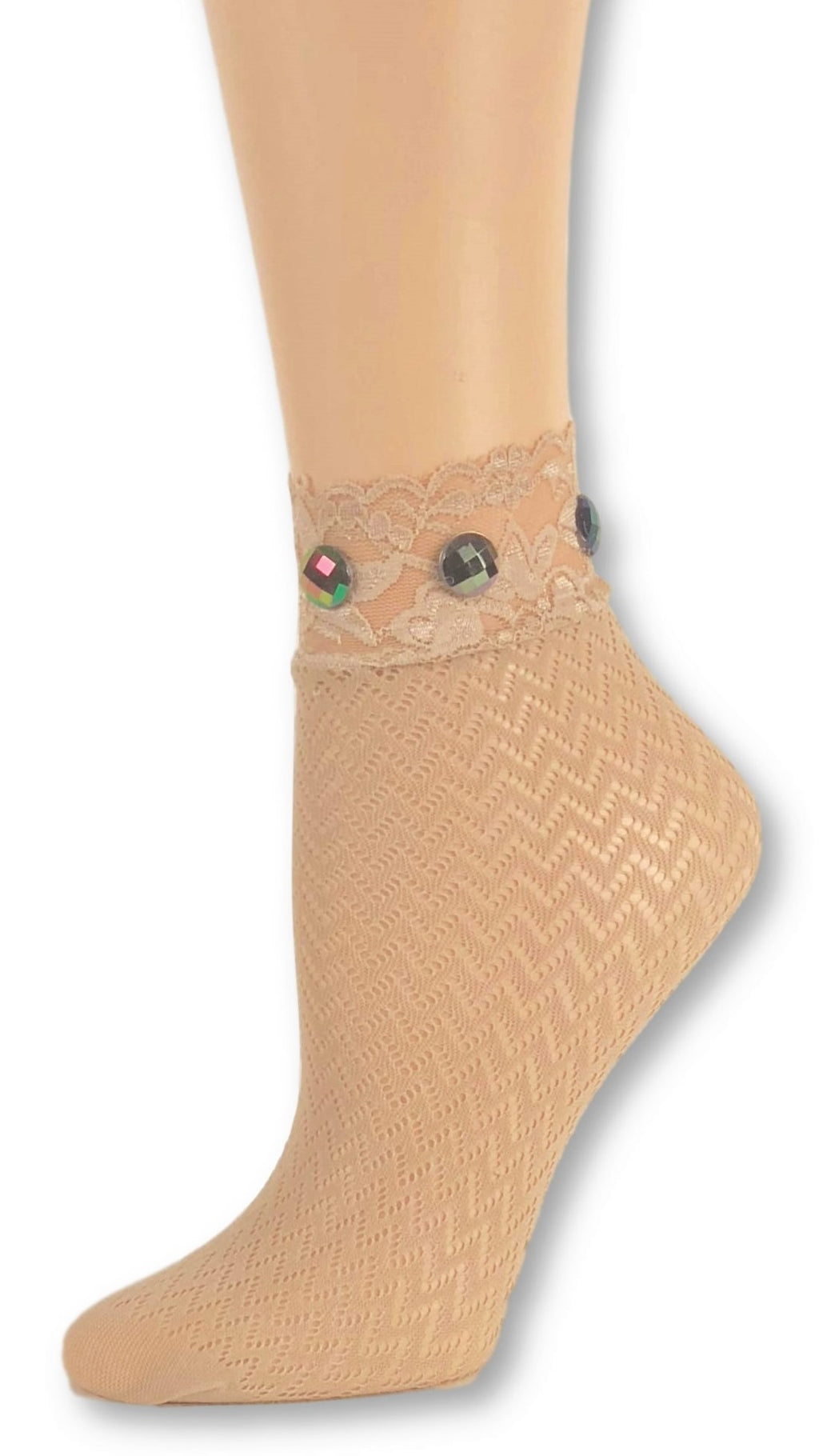 Sleek Beige Custom Mesh Socks with beads