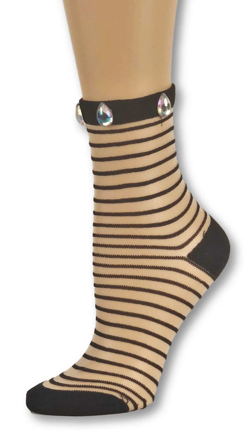 Black Striped Custom Sheer Socks with beads - Global Trendz Fashion®