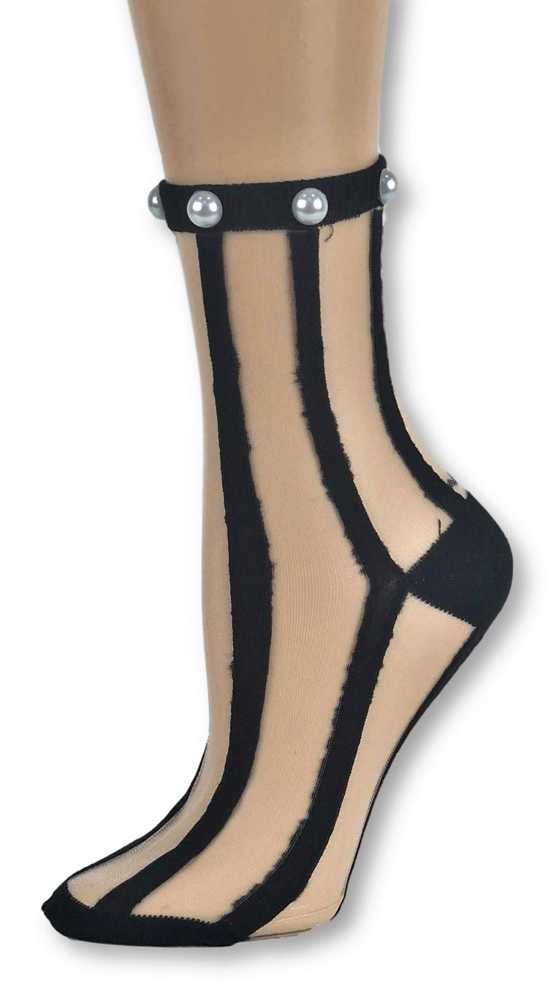 Brunet Black Striped Custom Sheer Socks with beads - Global Trendz Fashion®