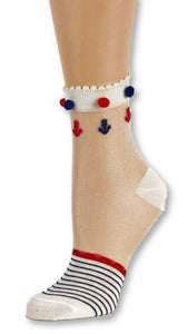 Red Blue Striped Custom Sheer Socks with pompom - Global Trendz Fashion®