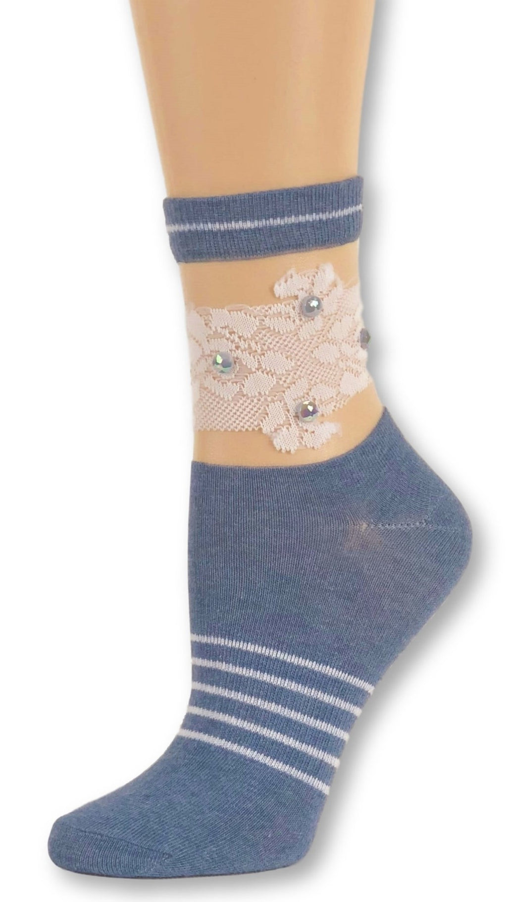 White Rose Blue Custom Sheer Socks with beads - Global Trendz Fashion®
