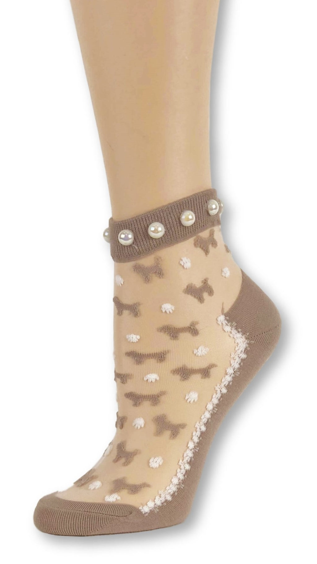 Brown Puppies Custom Sheer Socks with beads - Global Trendz Fashion®