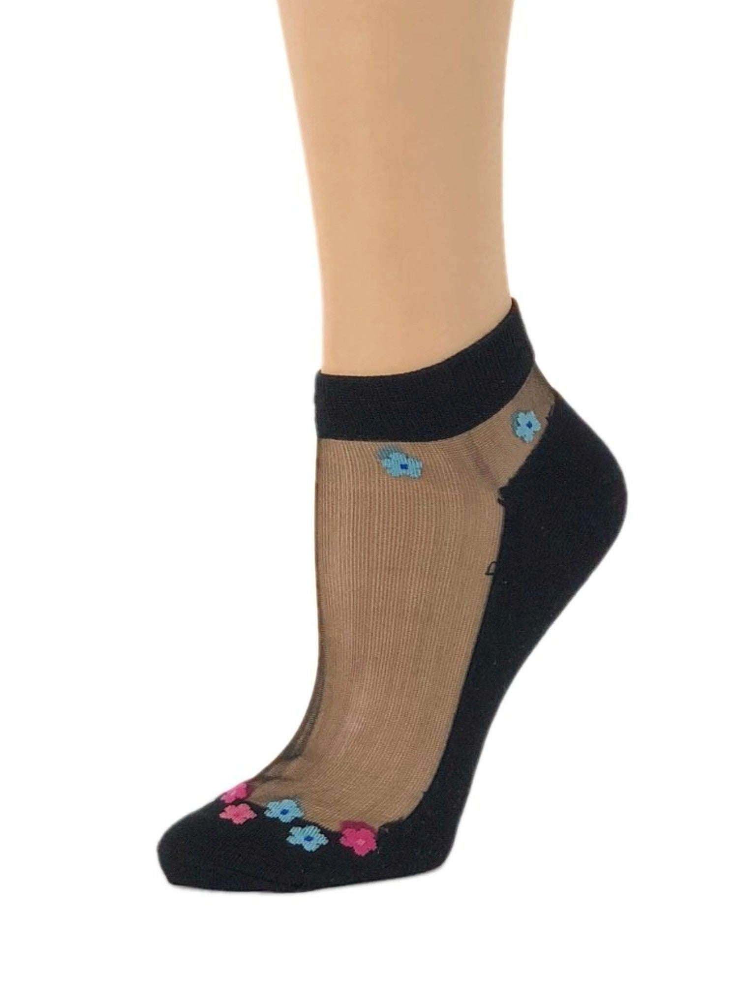 Mini Pink/Blue Flowers Ankle Sheer Socks-Global Trendz Fashion®