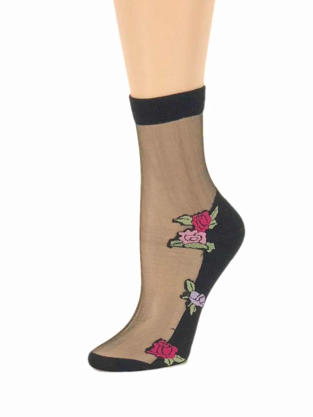 Pink & Red Roses Sheer Socks-Global Trendz Fashion®