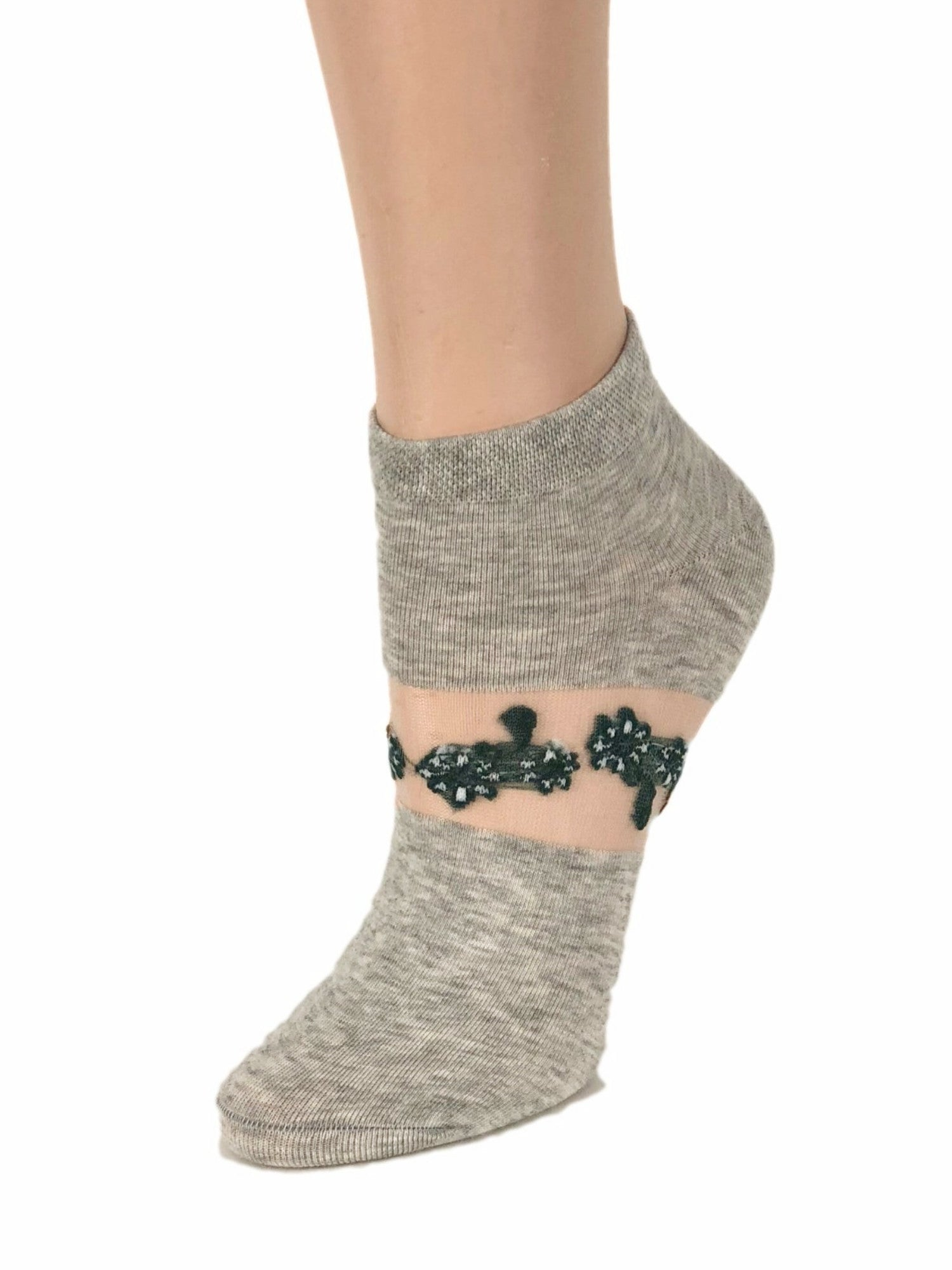 One-Stripped Black Flower Ankle Sheer Socks - Global Trendz Fashion®