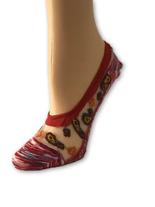 Red/Maroon Patterned Ankle Sheer Socks - Global Trendz Fashion®