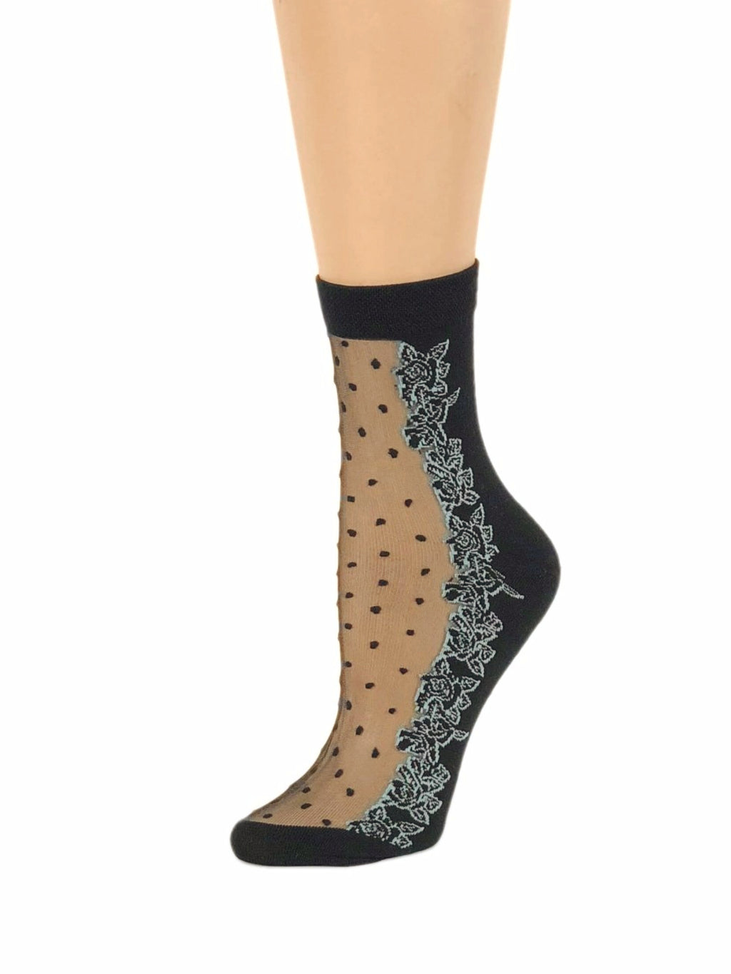 Sea Blue Flowers Sheer Socks - Global Trendz Fashion®