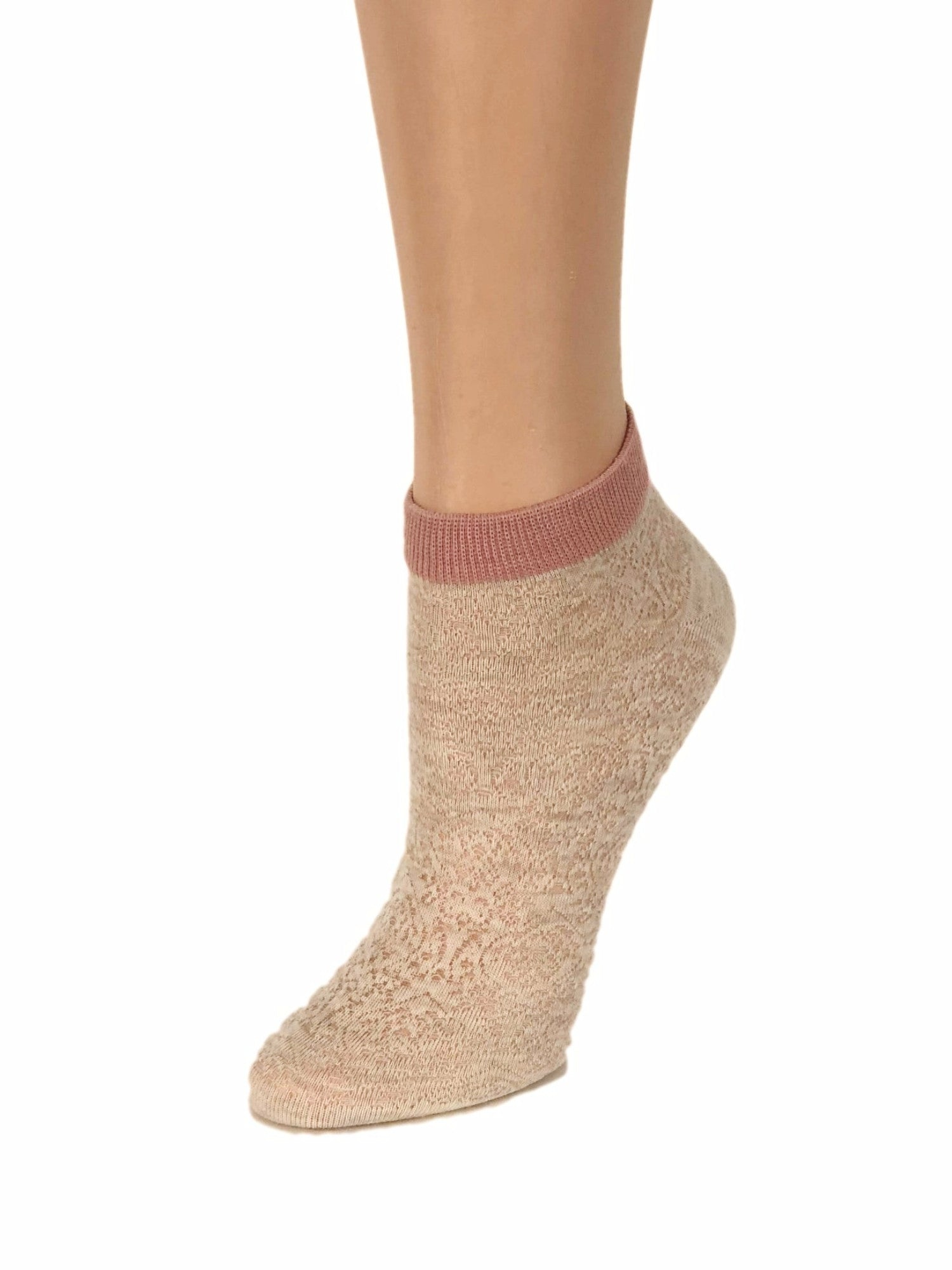 Pink Stripped Cream Ankle Sheer Socks-Global Trendz Fashion®