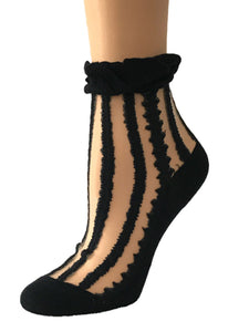 Coal Black Striped Sheer Socks - Global Trendz Fashion®
