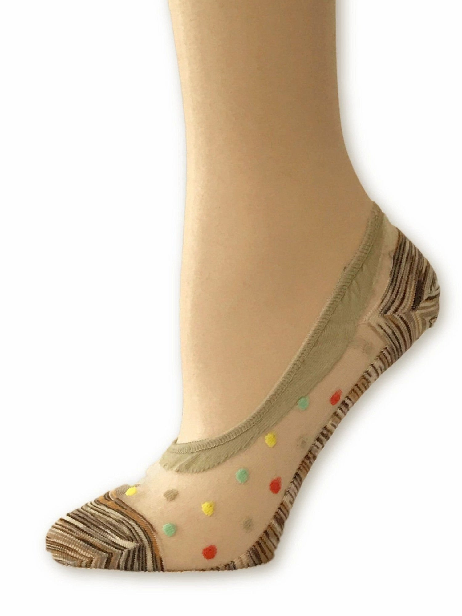 Brown Dotted Ankle Sheer Socks - Global Trendz Fashion®
