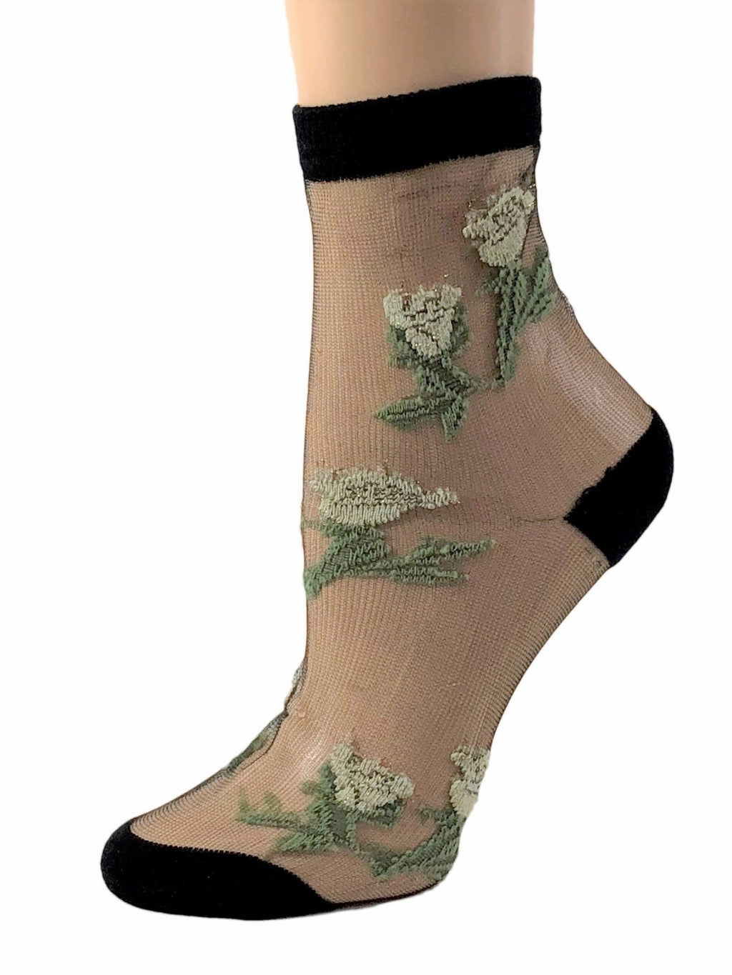 Nifty Green Floral Sheer Socks-Global Trendz Fashion®