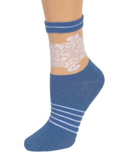 White Rose Blue Sheer Socks - Global Trendz Fashion®