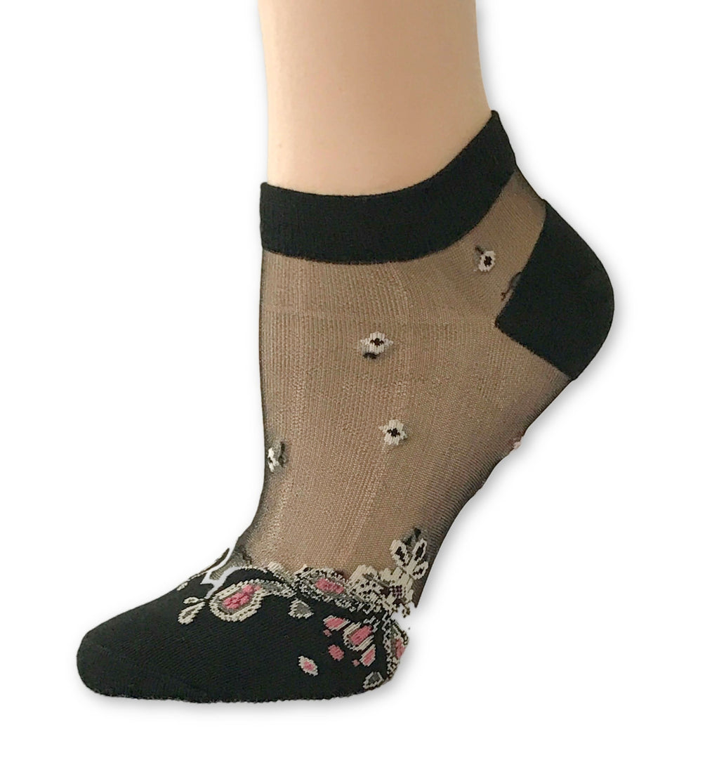 Stunning Black Patterned Ankle Sheer Socks - Global Trendz Fashion®