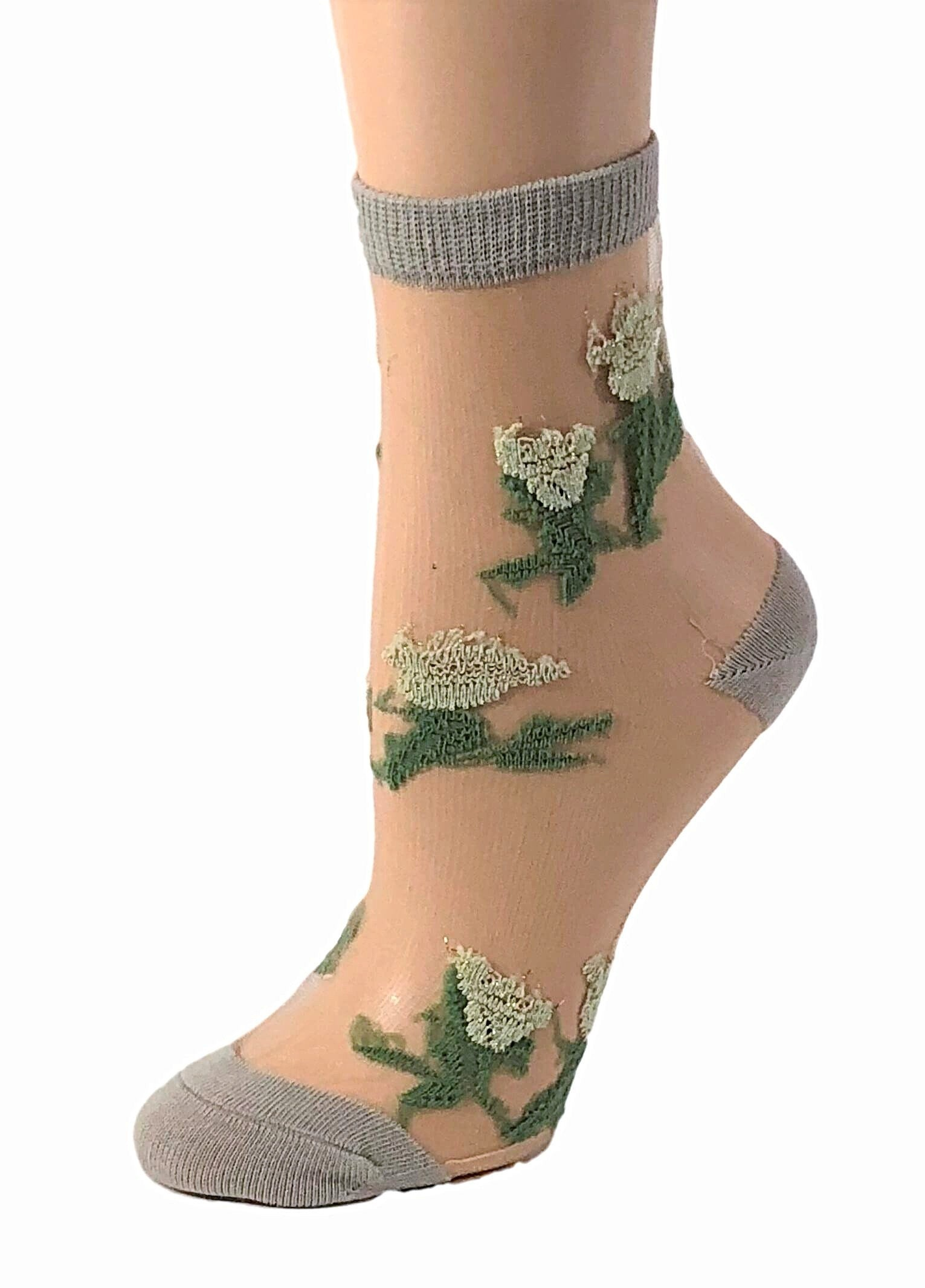 Snazzy Green Flowers Sheer Socks - Global Trendz Fashion®