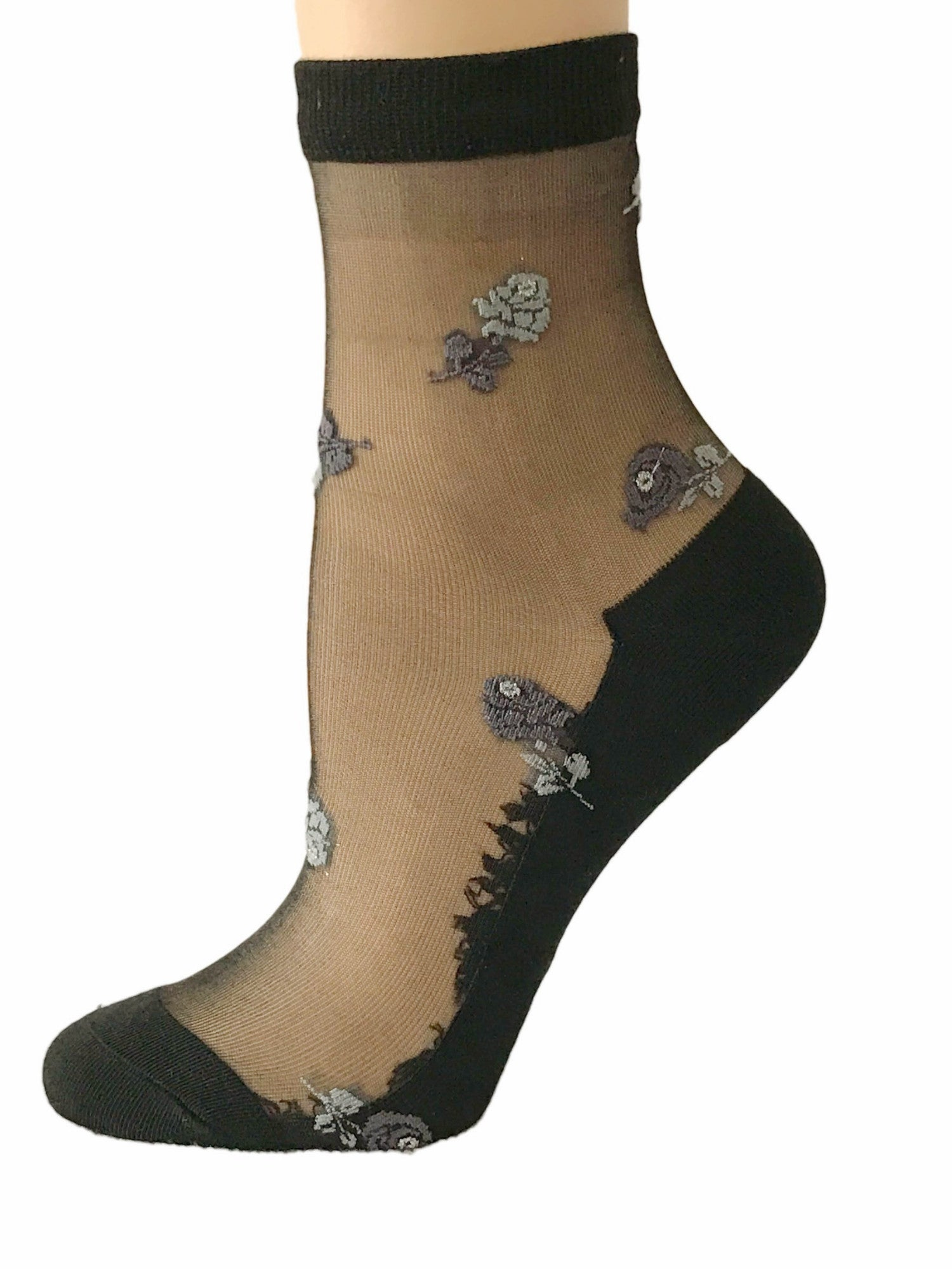 Sexy White Flowers Sheer Socks - Global Trendz Fashion®