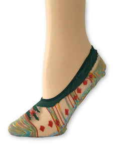 Red/Green Patterned Ankle Sheer Socks - Global Trendz Fashion®