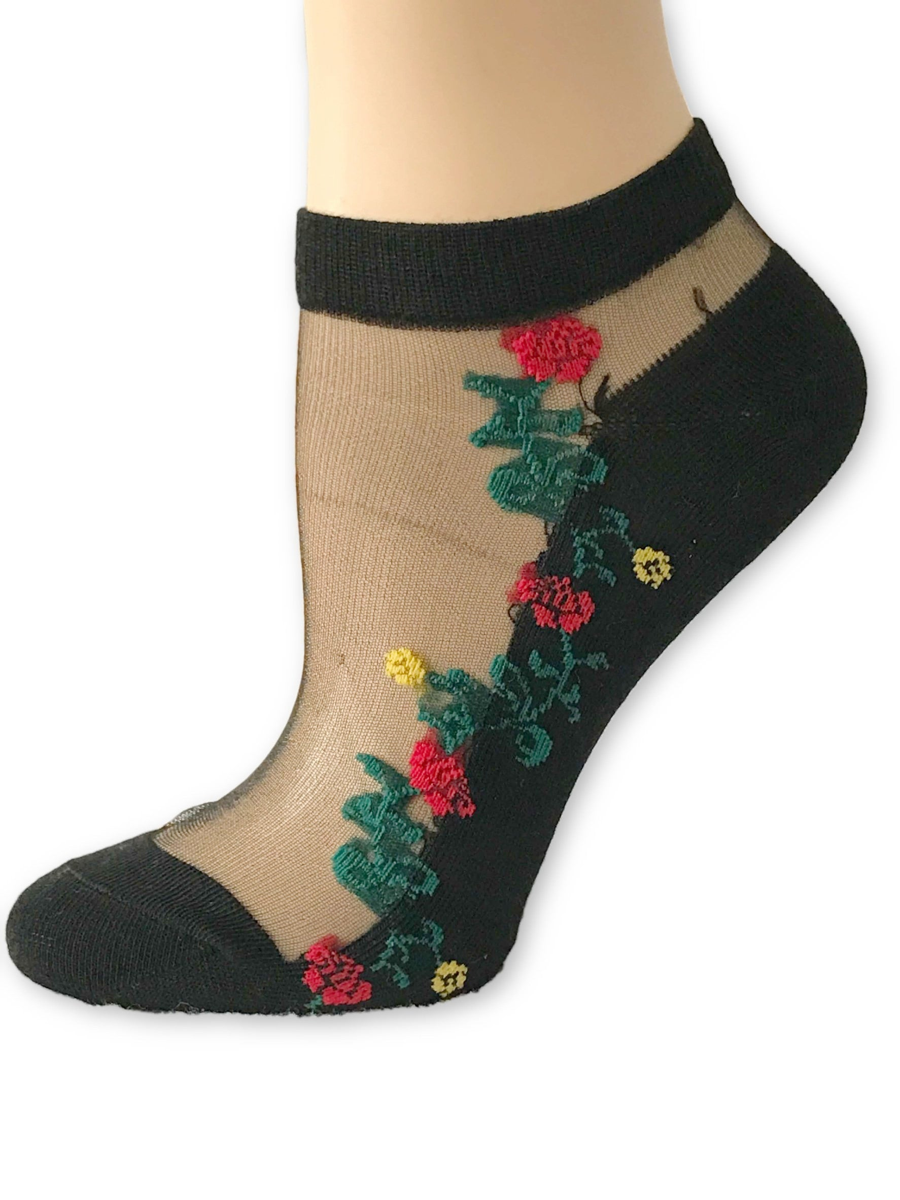 Red/Green Flowers Ankle Sheer Socks - Global Trendz Fashion®