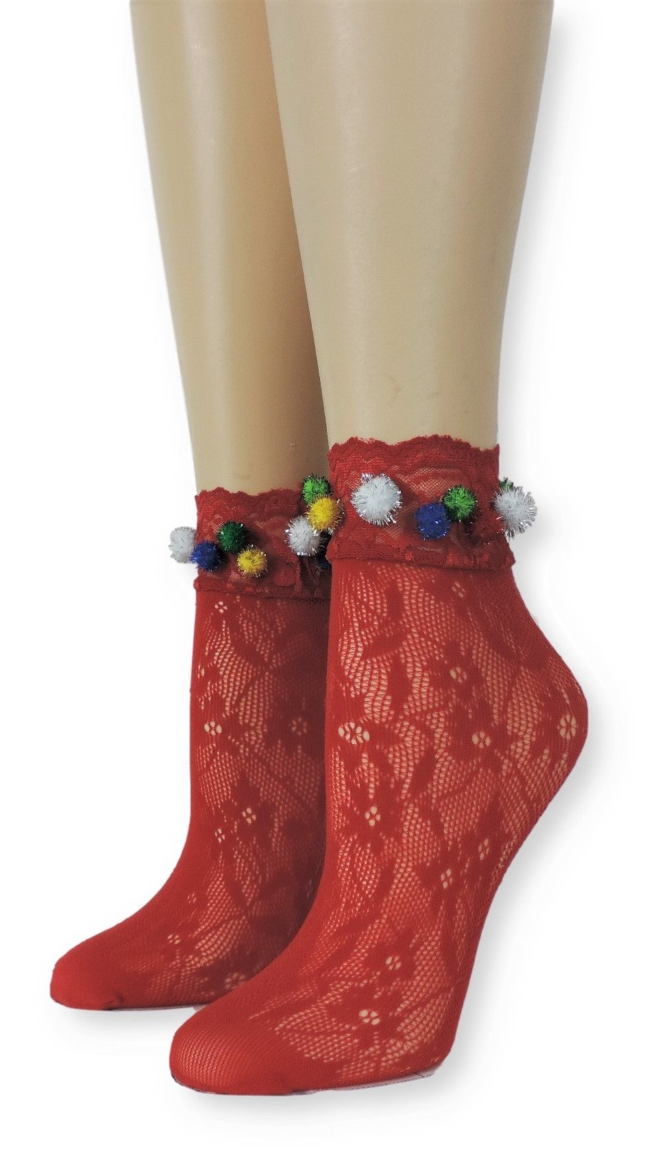 Floral red Lace Socks with Pompom - Global Trendz Fashion®