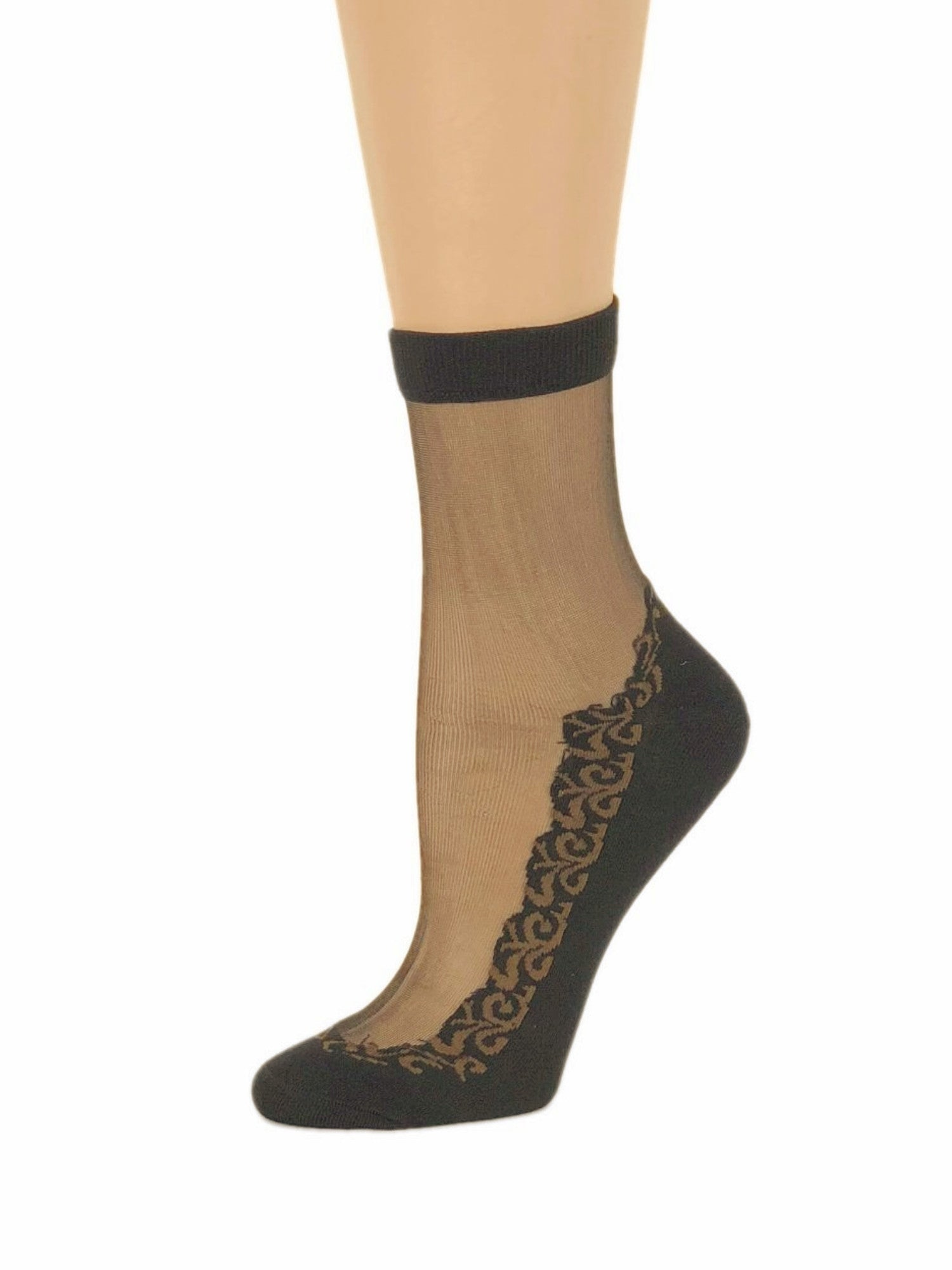 Sequence Brown Leaf Sheer Socks - Global Trendz Fashion®