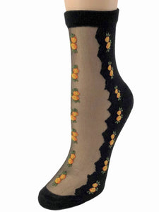 Patterned Orange Flowers Sheer Socks-Global Trendz Fashion®