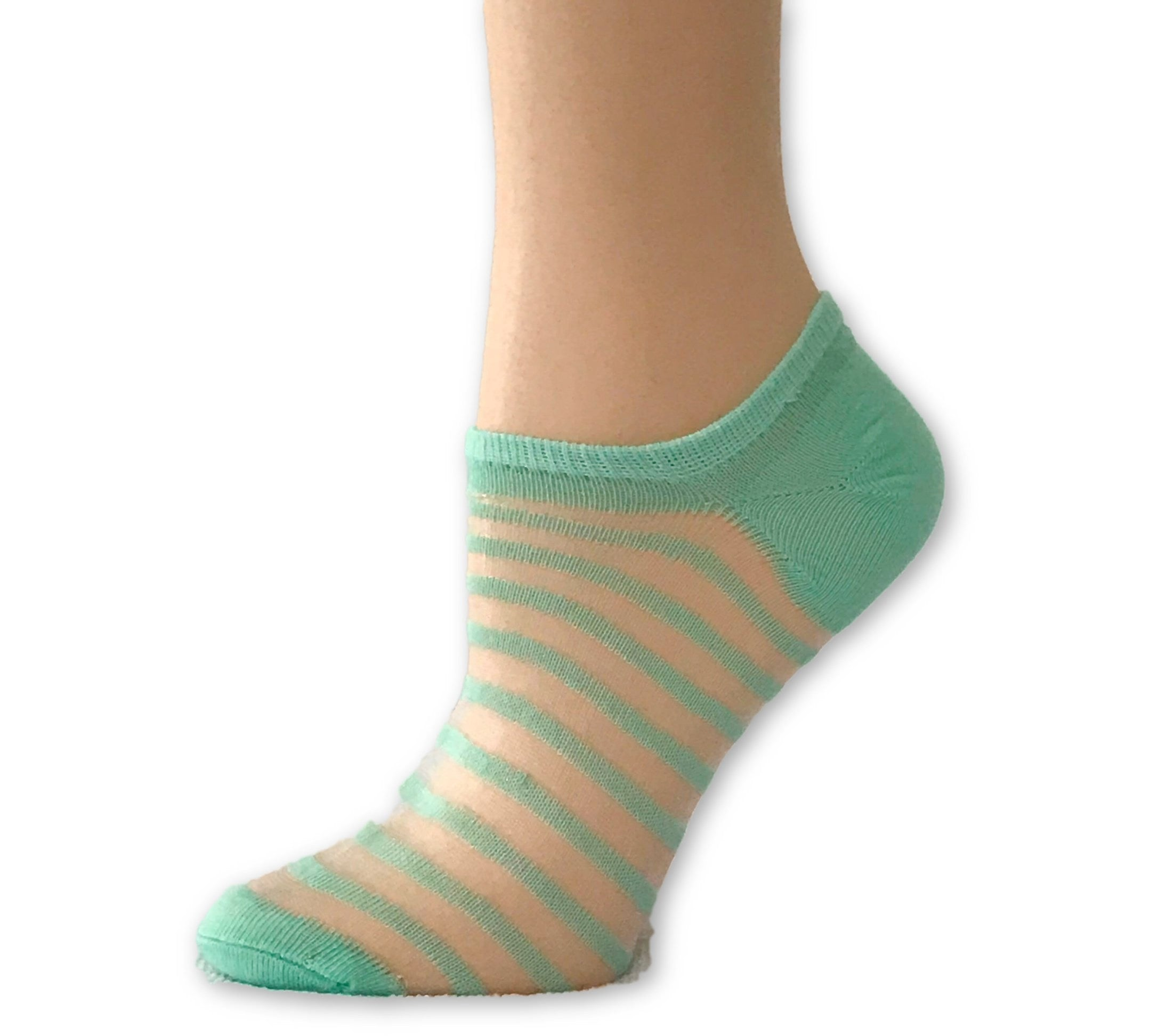 Stripped Neon Green Ankle Sheer Socks - Global Trendz Fashion®