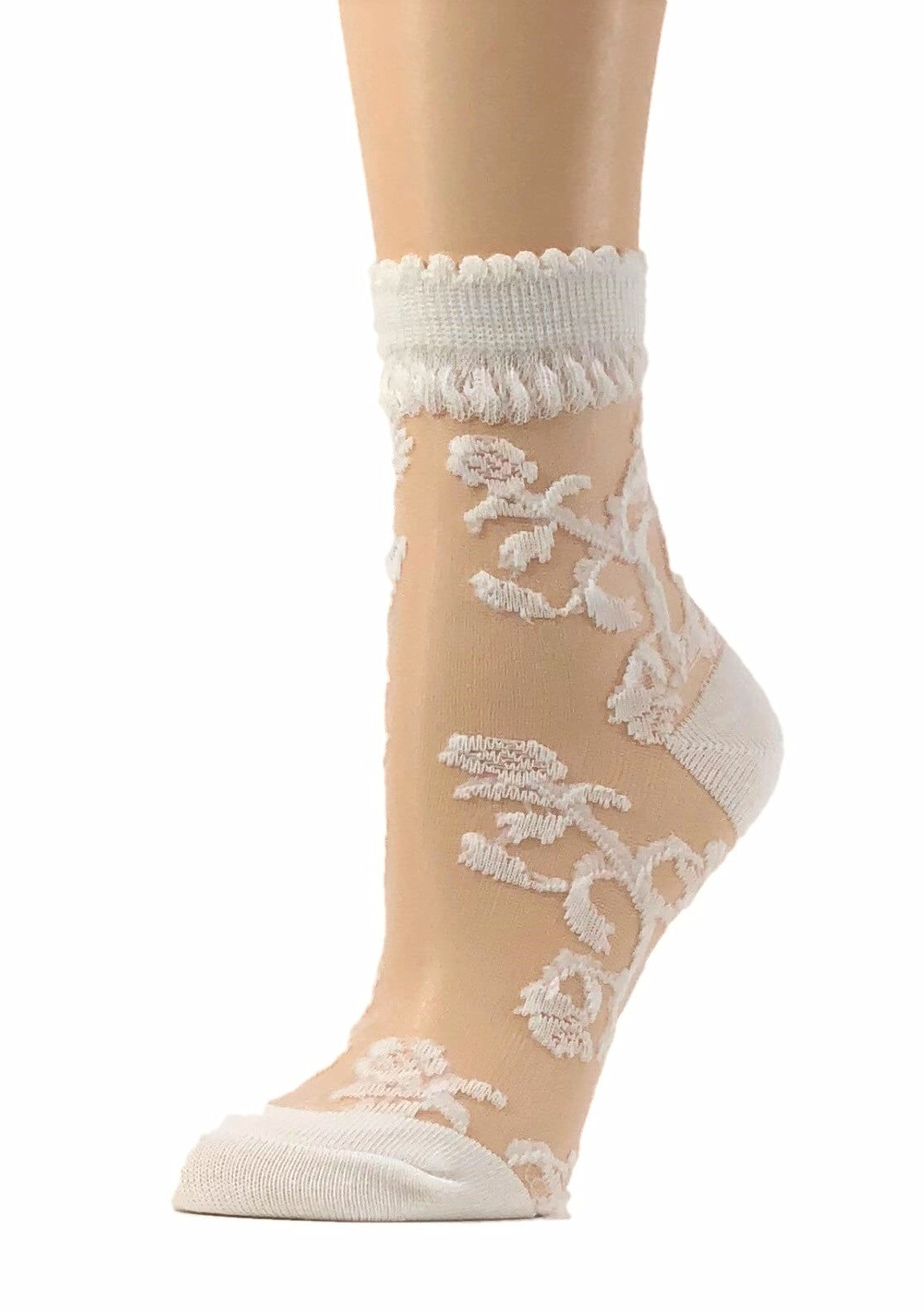 Snazzy White Sheer Socks - Global Trendz Fashion®