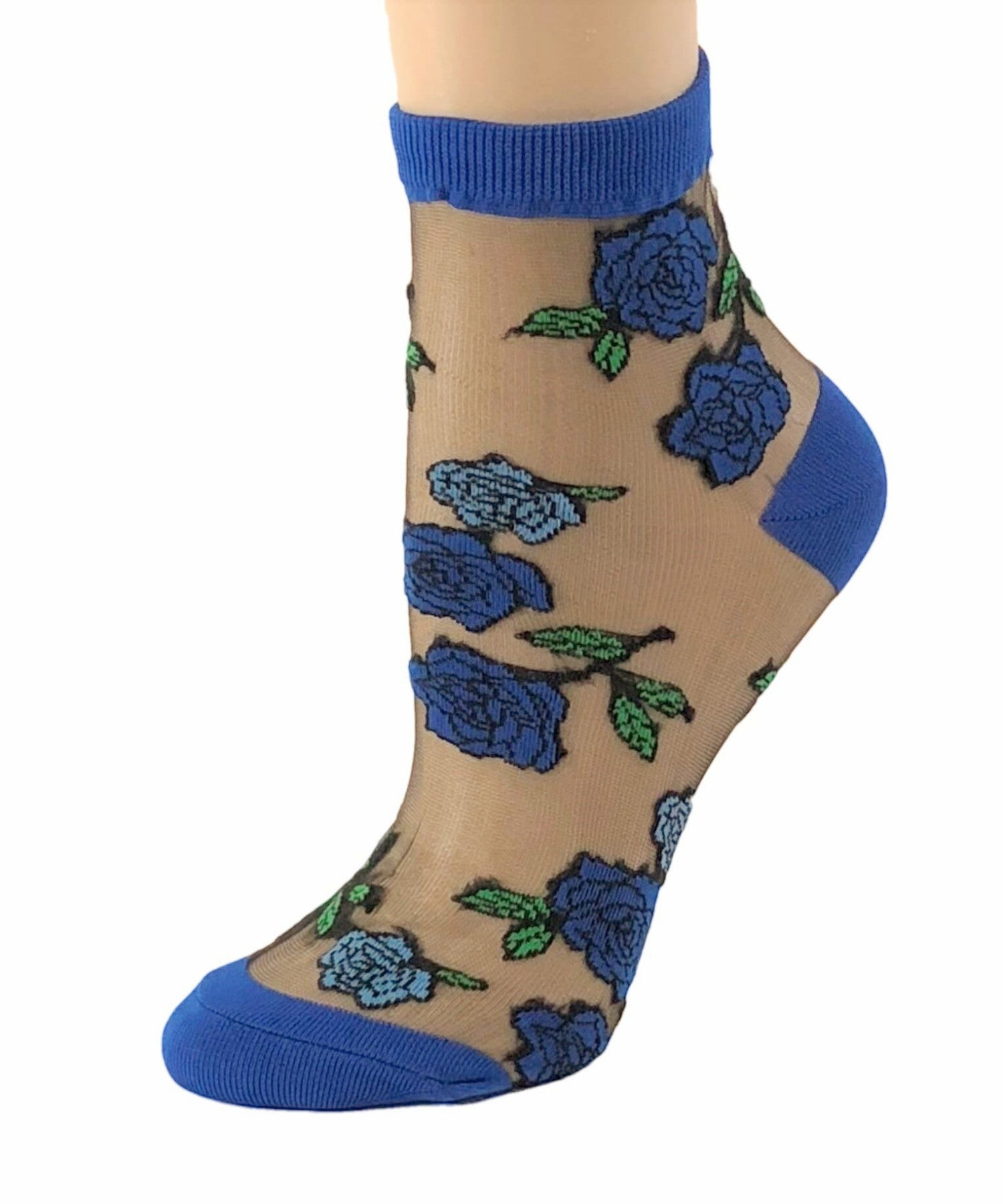 Sharp Blue Roses Sheer Socks - Global Trendz Fashion®